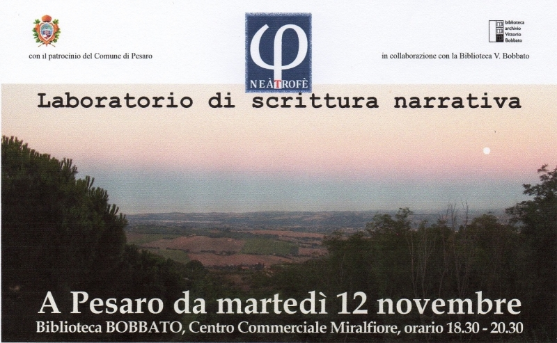 PRESENTAZIONE DEL LABORATORIO DI SCRITTURA NARRATIVA IL 12 NOVEMBRE A PESARO – INGRESSO LIBERO